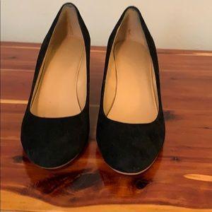 J.Crew black suede wedge heels